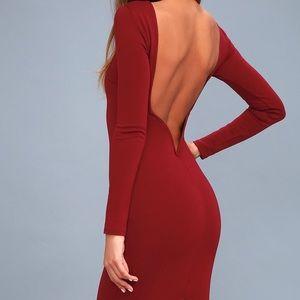 Wine Red Backless Midi Dress